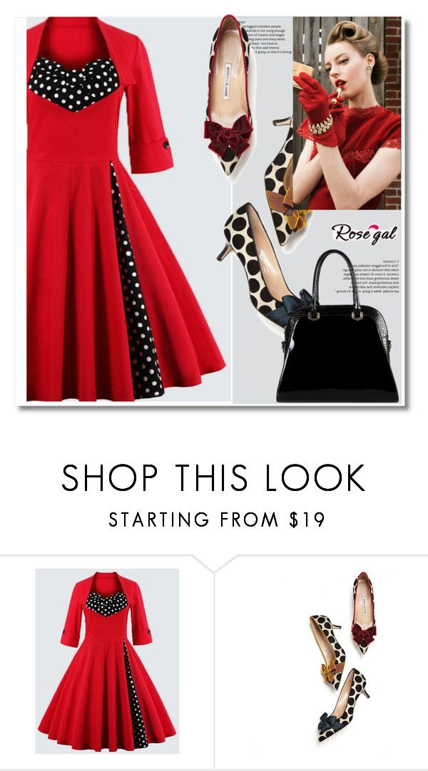 """""""Red dress"""" by mamaleone ❤ liked on Polyvore featuring Manolo Blahnik and Diophy"""