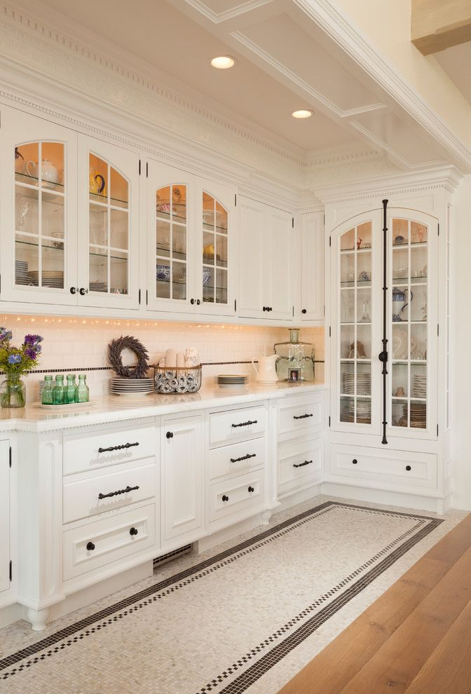 Attirant Kitchen Cabinet Hardware Ideas Kitchen Traditional With Arched Cabinets  Black And White Butler Pantry