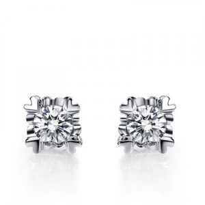 Half Carat Diamond Stud Earrings On 10k White Gold
