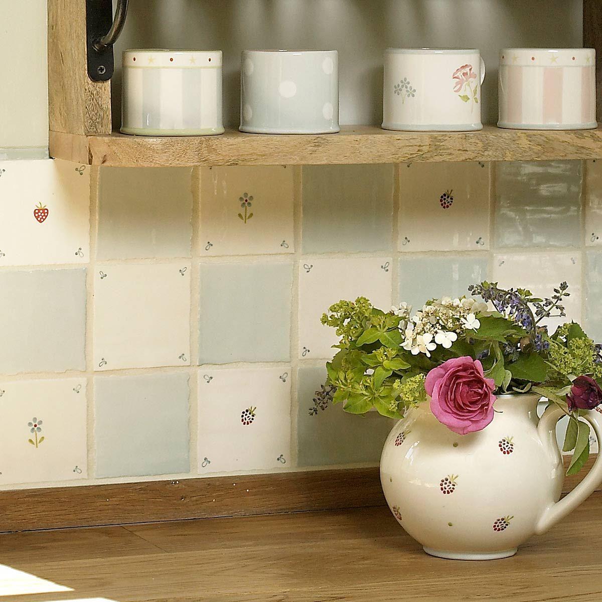 Duck Egg Blue Tile Susie Watson Designs Cottage Kitchen Tiles