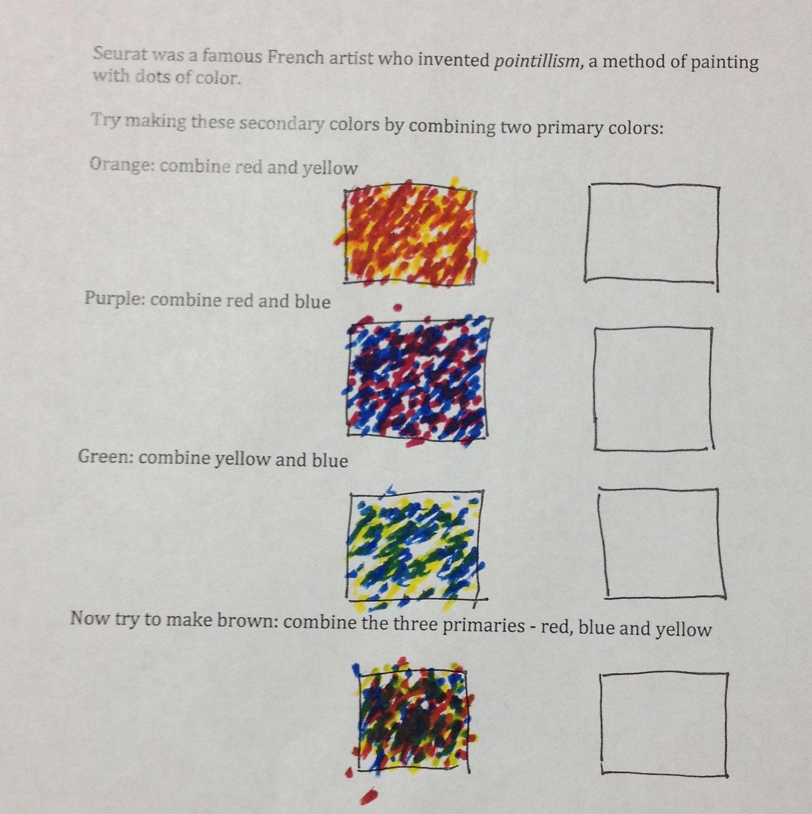 Pointillism Worksheet For Kids