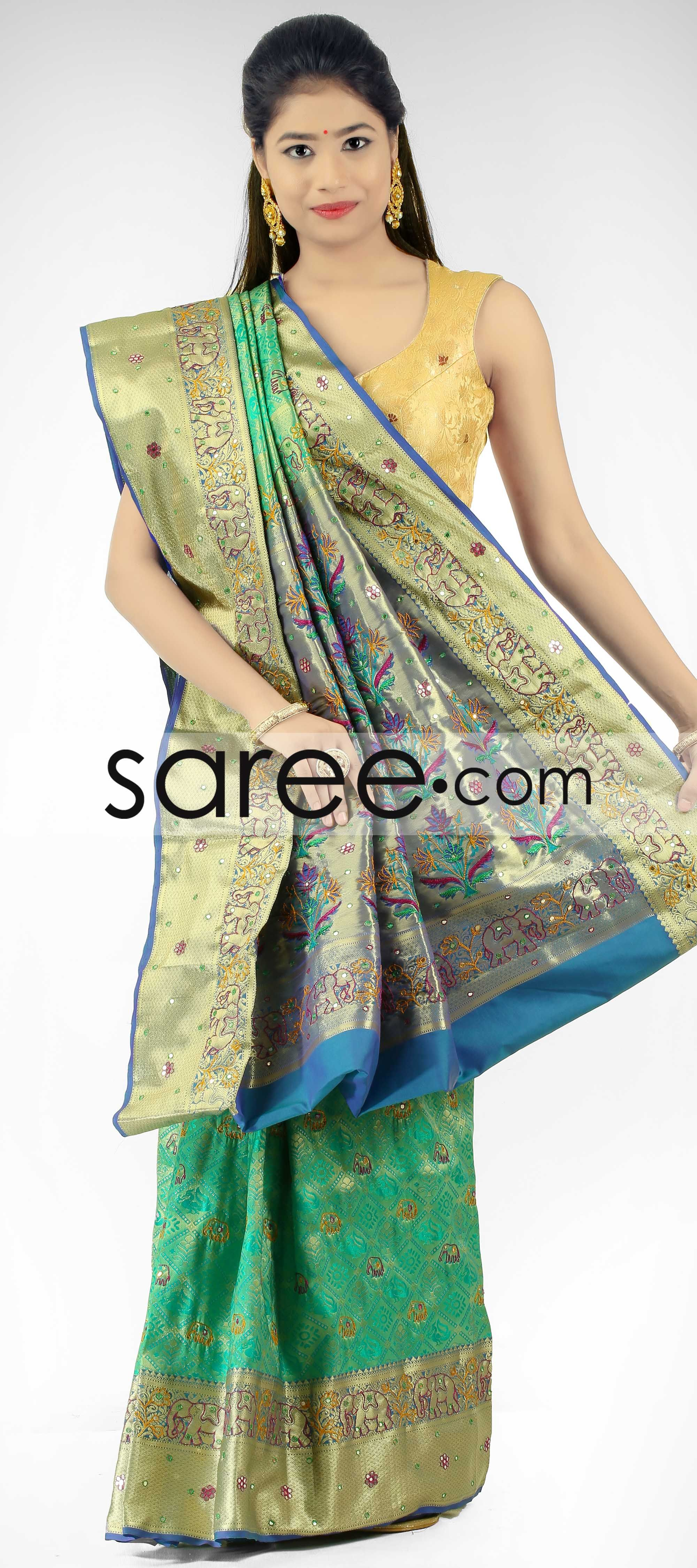 Green South Silk Saree With Mirror Work By Asopalav Saree Chiffonsarees Georgettesarees Indiansaree Sarees Silksarees Partywearsarees Weddingsarees