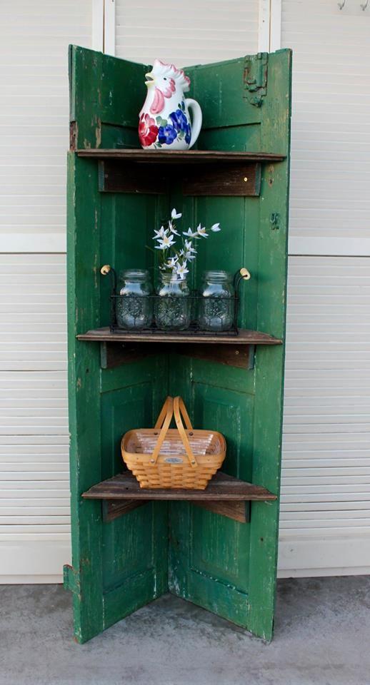 Large Vintage Shutters With Original Chippy Paint Repurposed Into A Corner Shelf Vintage Shutters Shutters Repurposed Shelves