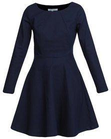 Holly Blue Panel Detail Stretch Dress Navy