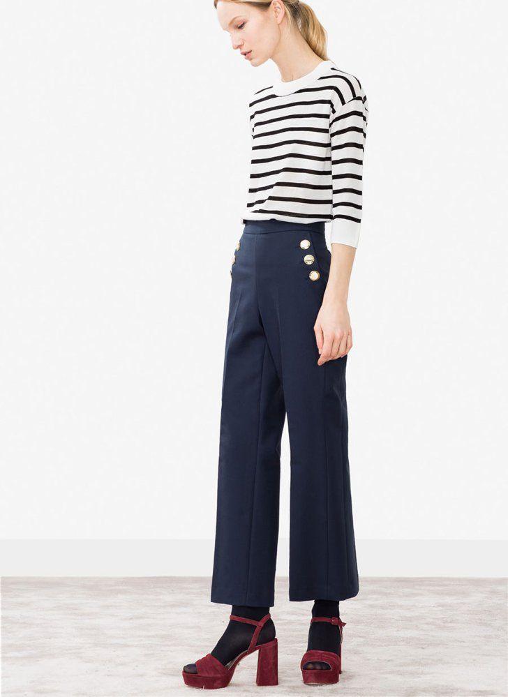 Pin for Later: Kennt ihr schon Zara's kleine Schwester-Marke namens Uterqüe?  Dunkelblaue Culotte aus Baumwolle mit Knopf-Details (99 €)