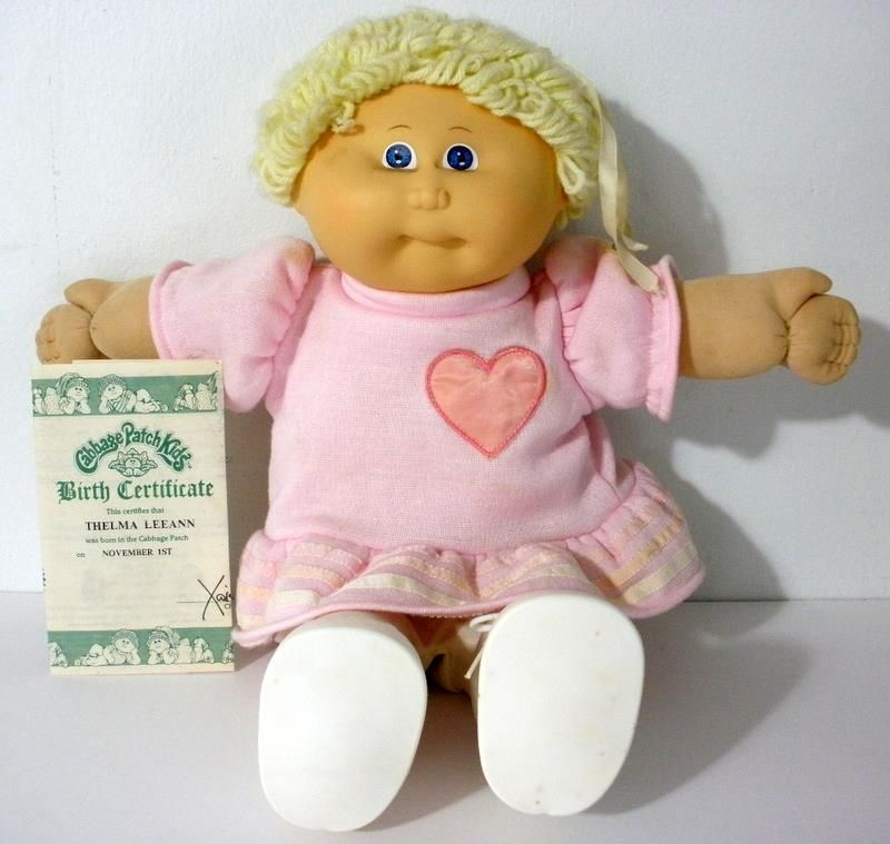 1985 Cabbage Patch Kids Thelma Leeann Doll With Birth Certificate No Box Cabbage Patch Kids Kids Birth Certificate