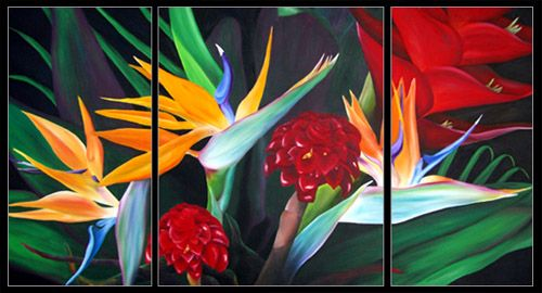 oil painting maui tropical flower birds of paradise ginger heliconia by Hawaii artist anna keay