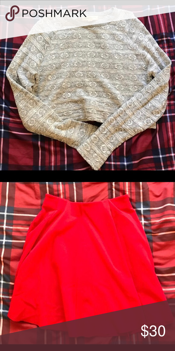 Urban Outfitters Cropped Sweater & Zara Skirt Set Cropped sweater is from Urban Outfitters. Red skirt is from Zara. Both size SMALL Sweaters Crew & Scoop Necks