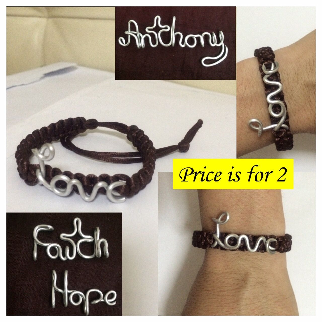 Personalized Wire-satin Cord Bracelet by Anthony Chia.  ***Price is for a pair*** by HighExpressions on Etsy
