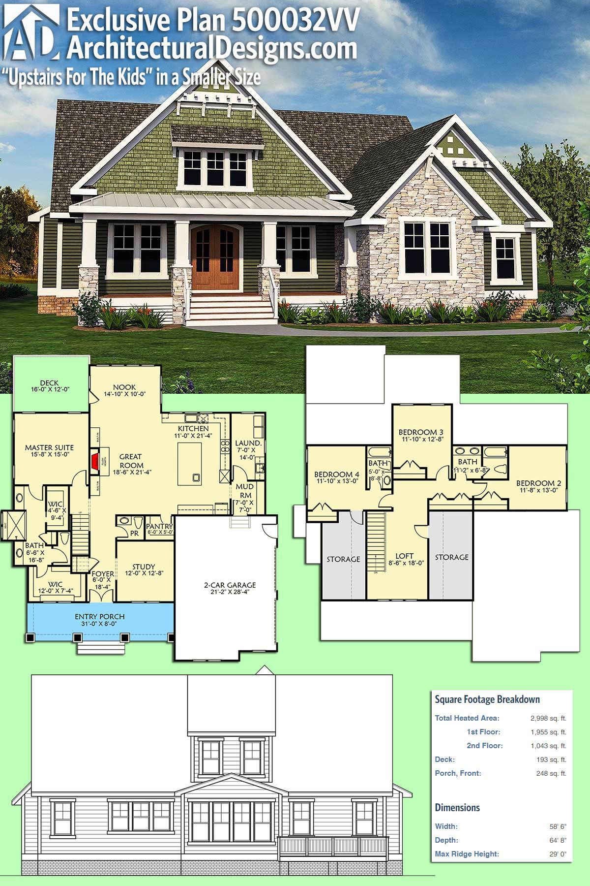 plan 500032vv upstairs for the kids in a smaller size living