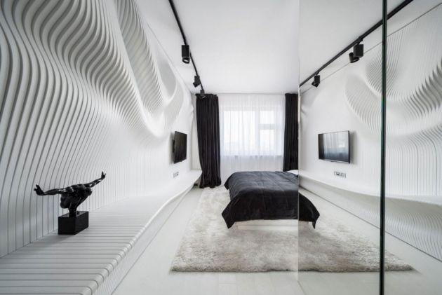 Wunderbar Verspieltes Wanddesign Fließende Ornamente Weiß Grau Nuancen