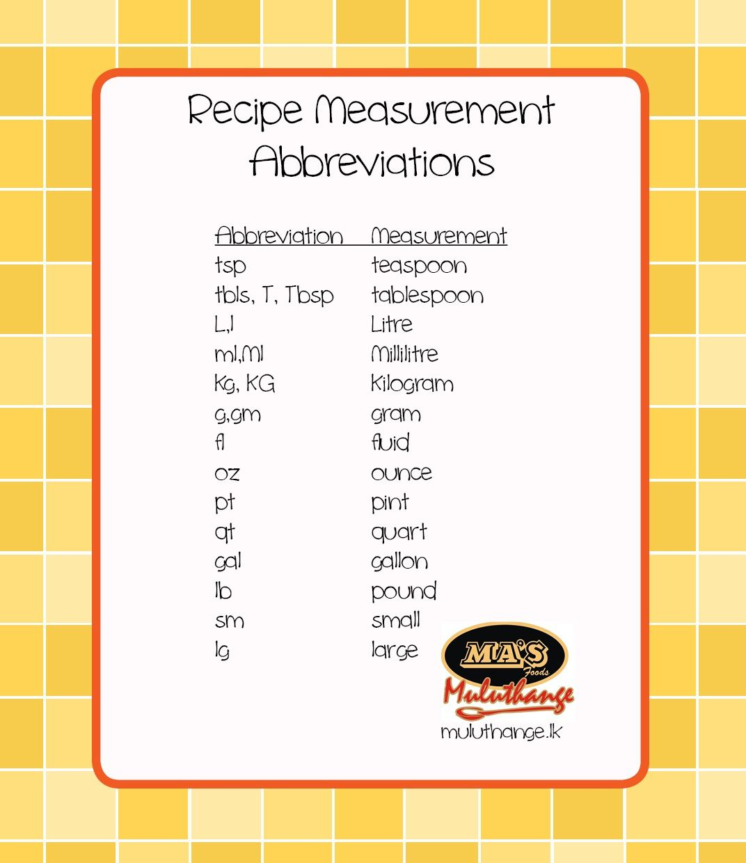 Common Recipe Measurement Abbreviations Measurements Kitchen School Ideas Monthly Menu