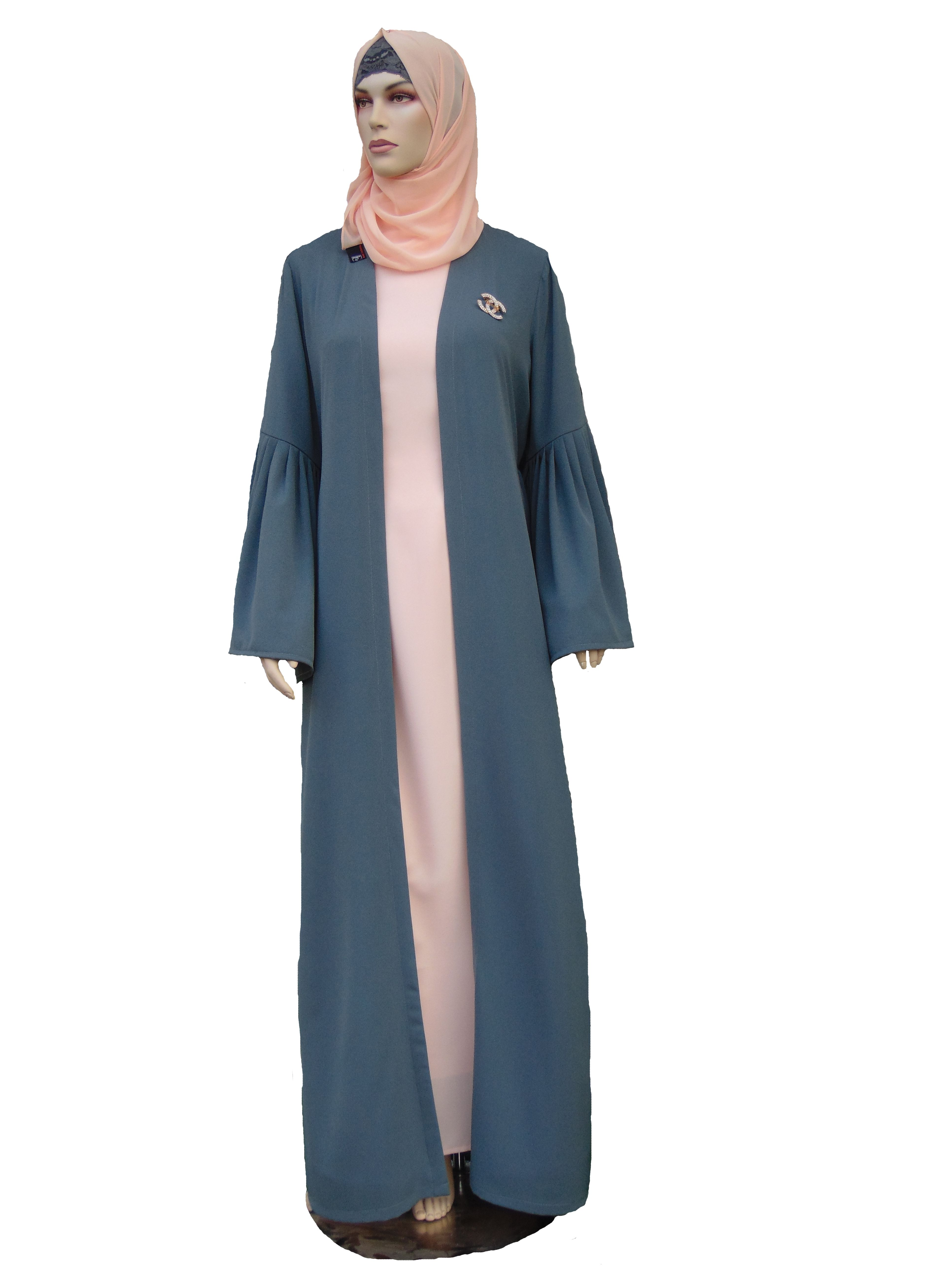 ... di Busana Muslim oleh Evie Damayanti. Open abaya of cotton crepe with  special design on sleeves 37e9e77581