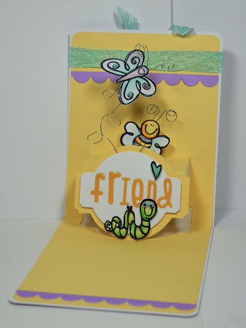 So cute! Kelly Booth's Friend Card - Lovin The Life I Color: A Pop N Cut made with Purple Onion stamps!