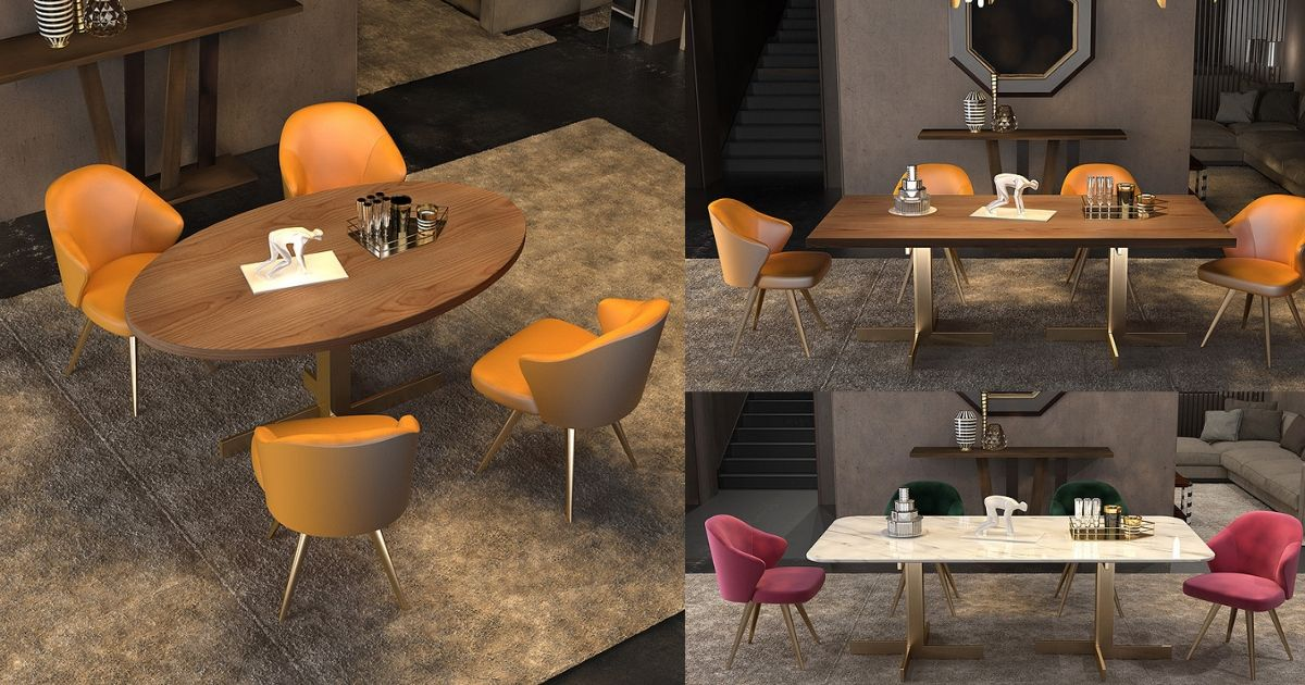 Orange Dining Chair With Wooden Table Dining Set Design Ideas