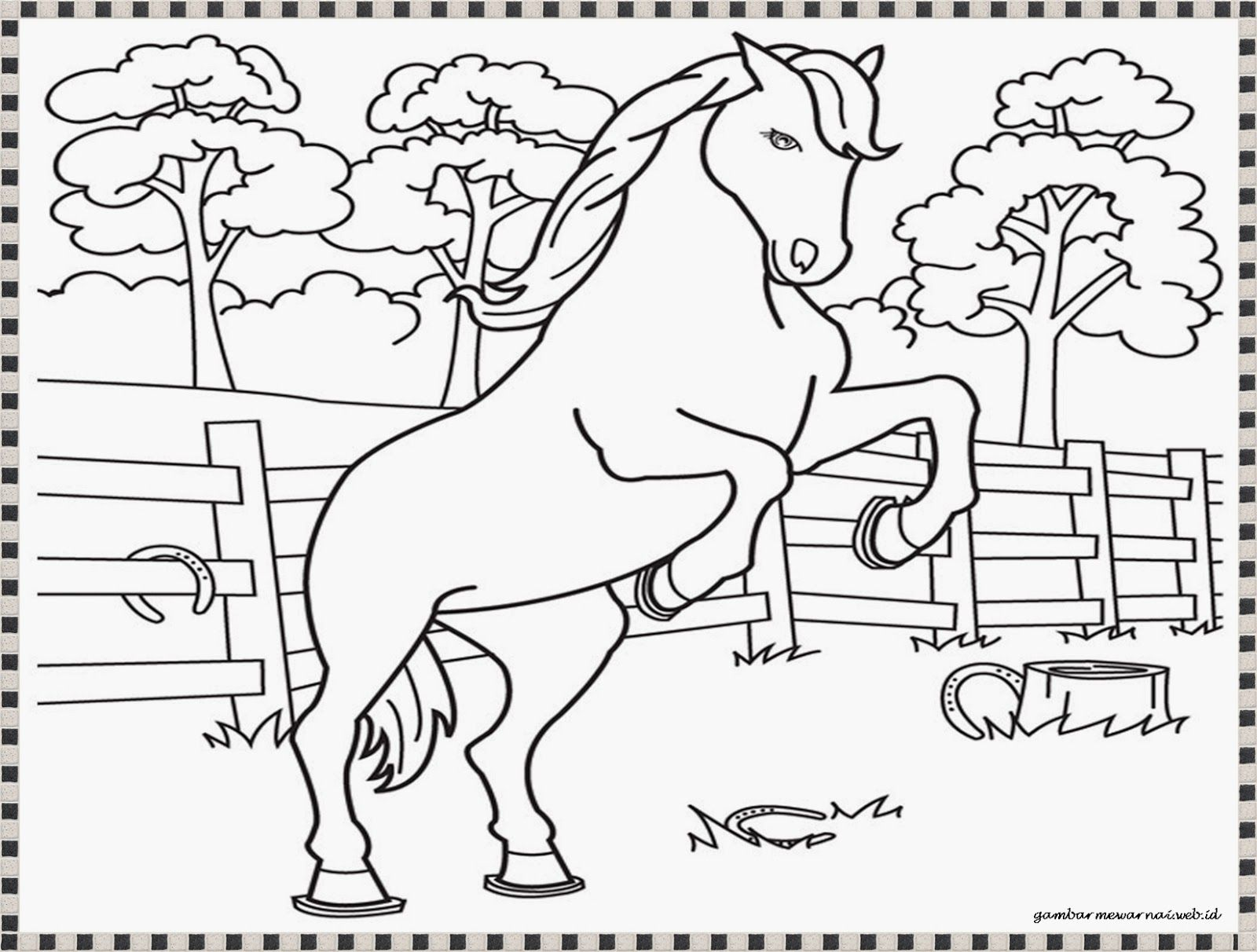 gambar mewarnai kuda