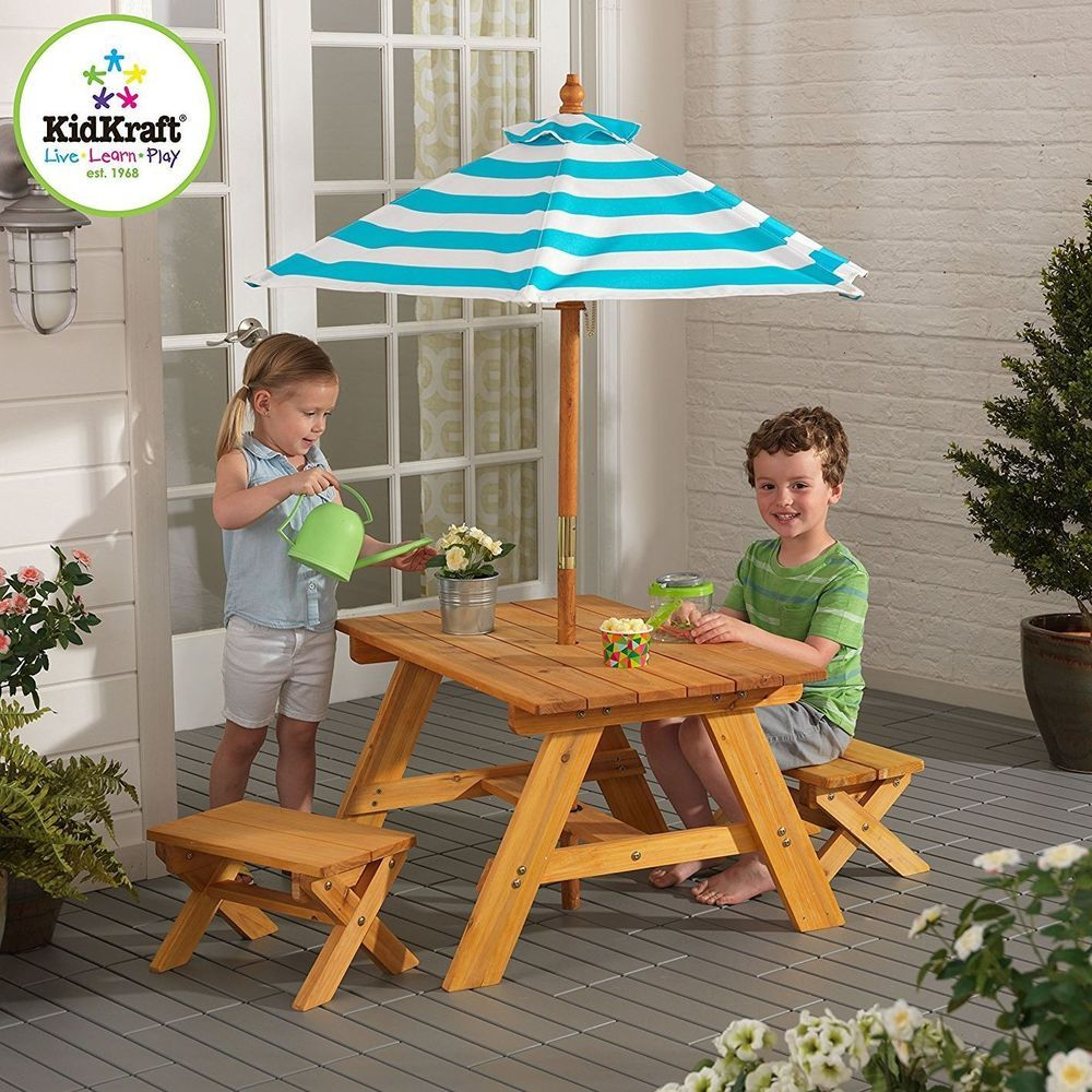 Kids Picnic Table Bench Umbrella Wooden Outdoor Garden 2 Seat For Small Children Kidkraftfurniture