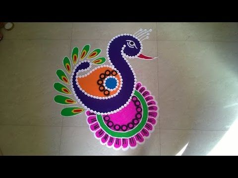 Easy small and unique peacock rangoli Innovative rangoli