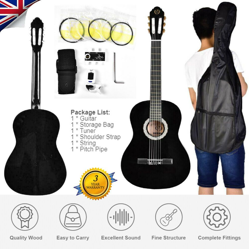 39 Beginners Acoustic Guitar Storage Bag Strap Tuner Pick Steel Strings Guitar Acoustic Guitar Bag Storage