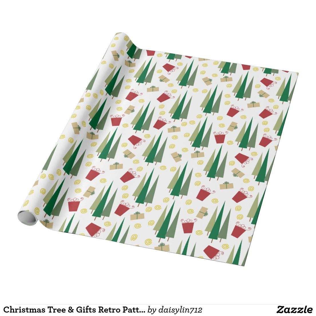 Christmas Tree & Gifts #Retro Pattern Wrapping Paper #ChristmasGiftWrap