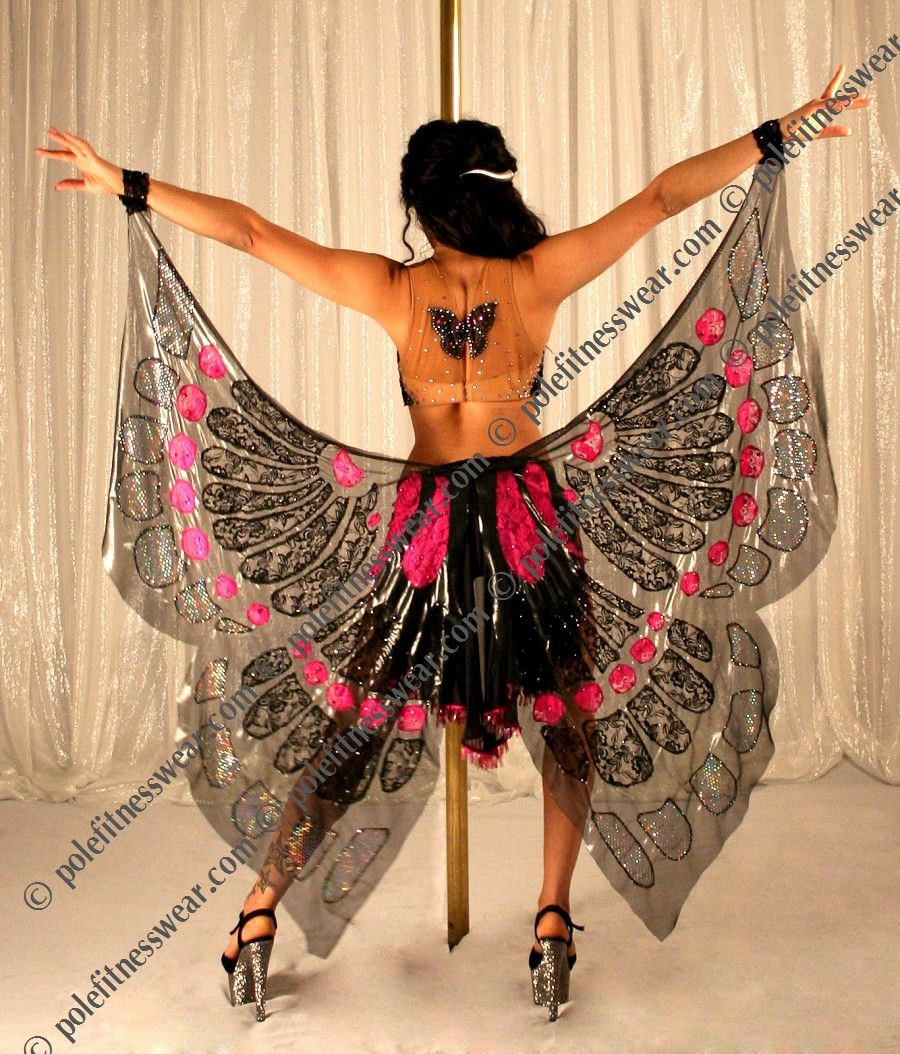 butterfly custom pole fitness wear dance costume. Black Bedroom Furniture Sets. Home Design Ideas