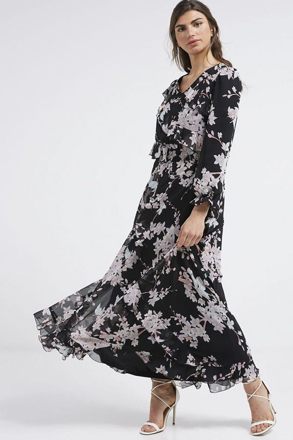 8564e18c4d1 Floral Printed Long Sleeves Maxi Dress Black Multicolour - Anotah Fashion  Online