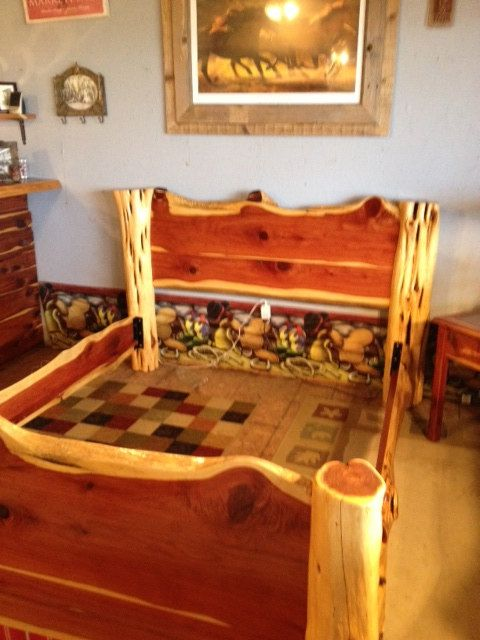 Queen Size Cedar Log Bed By Garrettsrusticstuff On Etsy