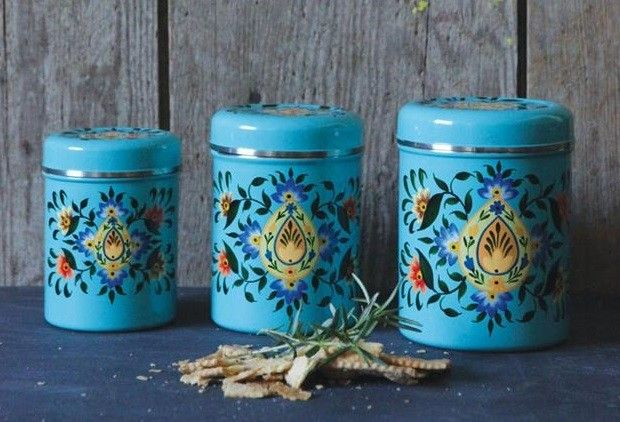 Hand Painted Metal Canisters With Lids Set Of 3