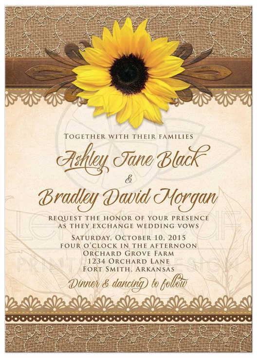Rustic Sunflower Wedding Invitation From Lemonleafprints