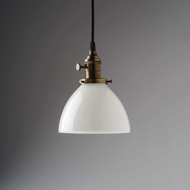 6 white glass dome pendant light fixture usa handblown glass by oldebricklighting on etsy