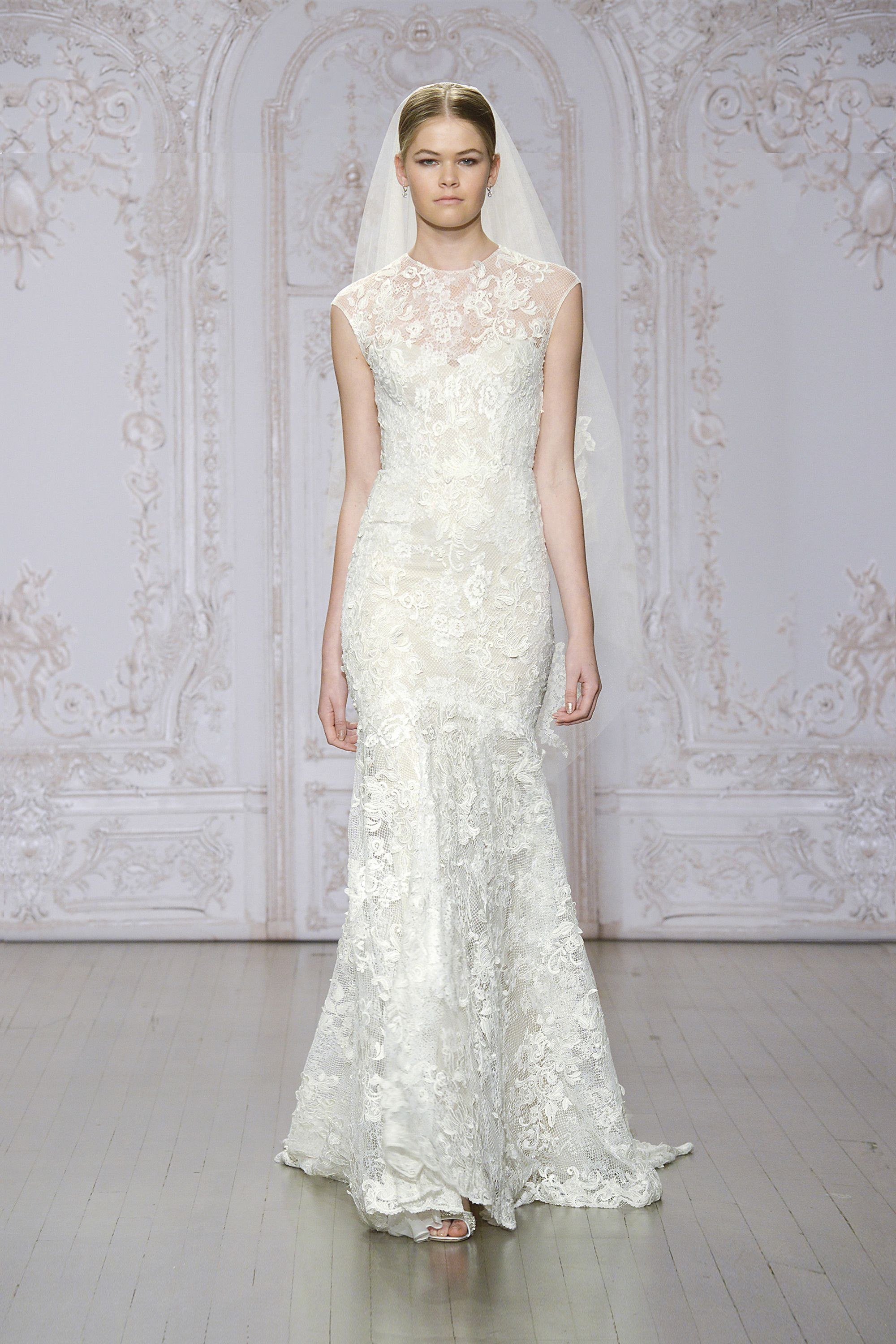 Monique Lhuillier - Ivory / nude embroidered lace illusion cap ...