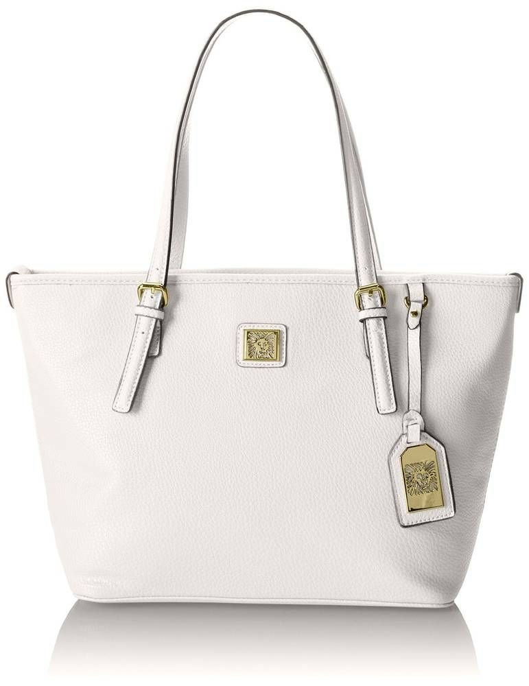 12aed742f61d0e New Anne Klein Perfect Medium Tote Handbag White w/Polka Dot Lining  #AnneKlein #TotesShoppers