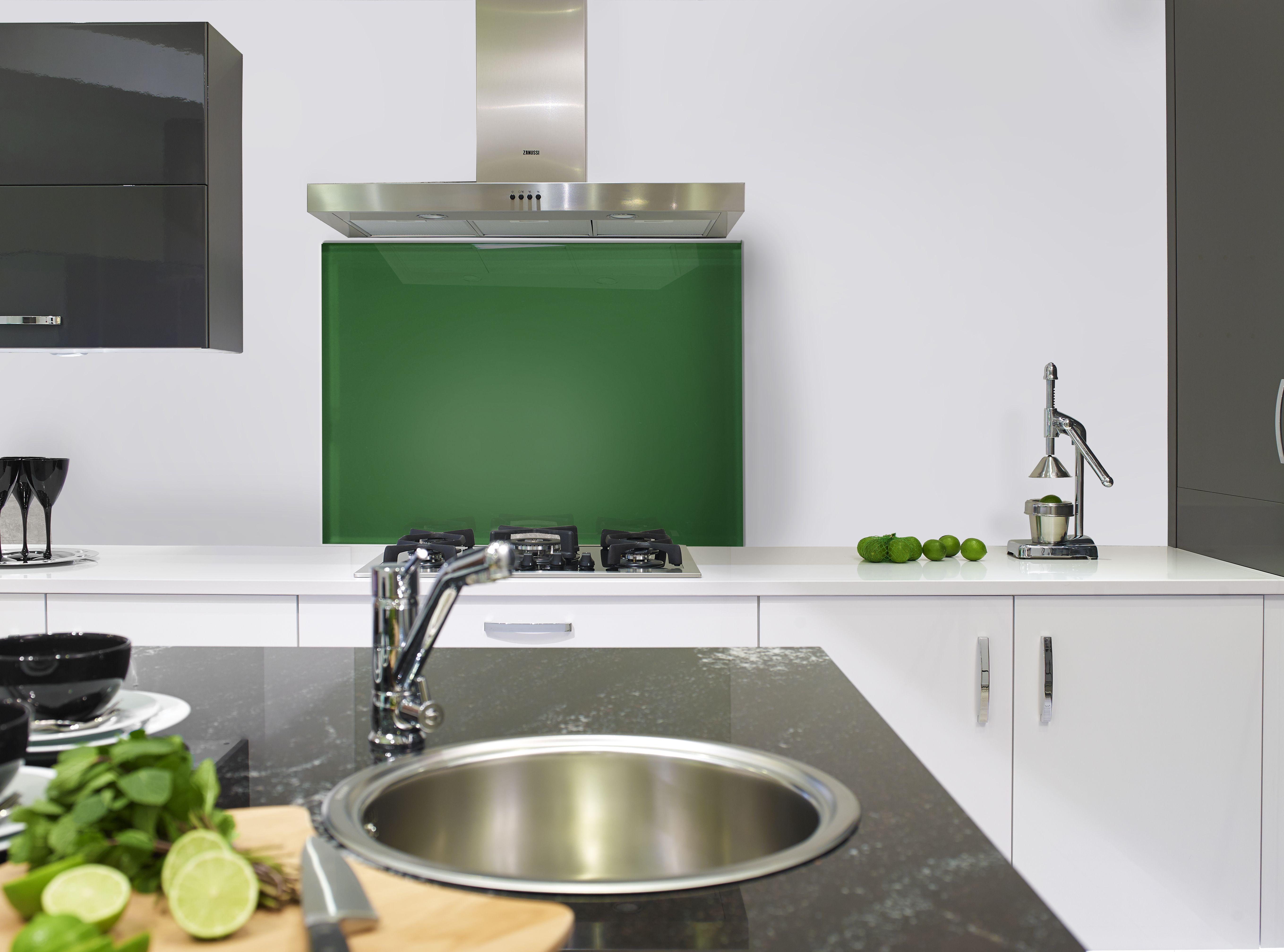 Emerald Glass Splashback #kitchen #kitchens #backsplash