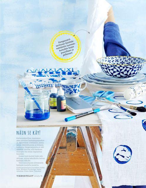 DIY - Painted fabrics at Kodin Kuvalehti.  Photo Anna Huovinen.