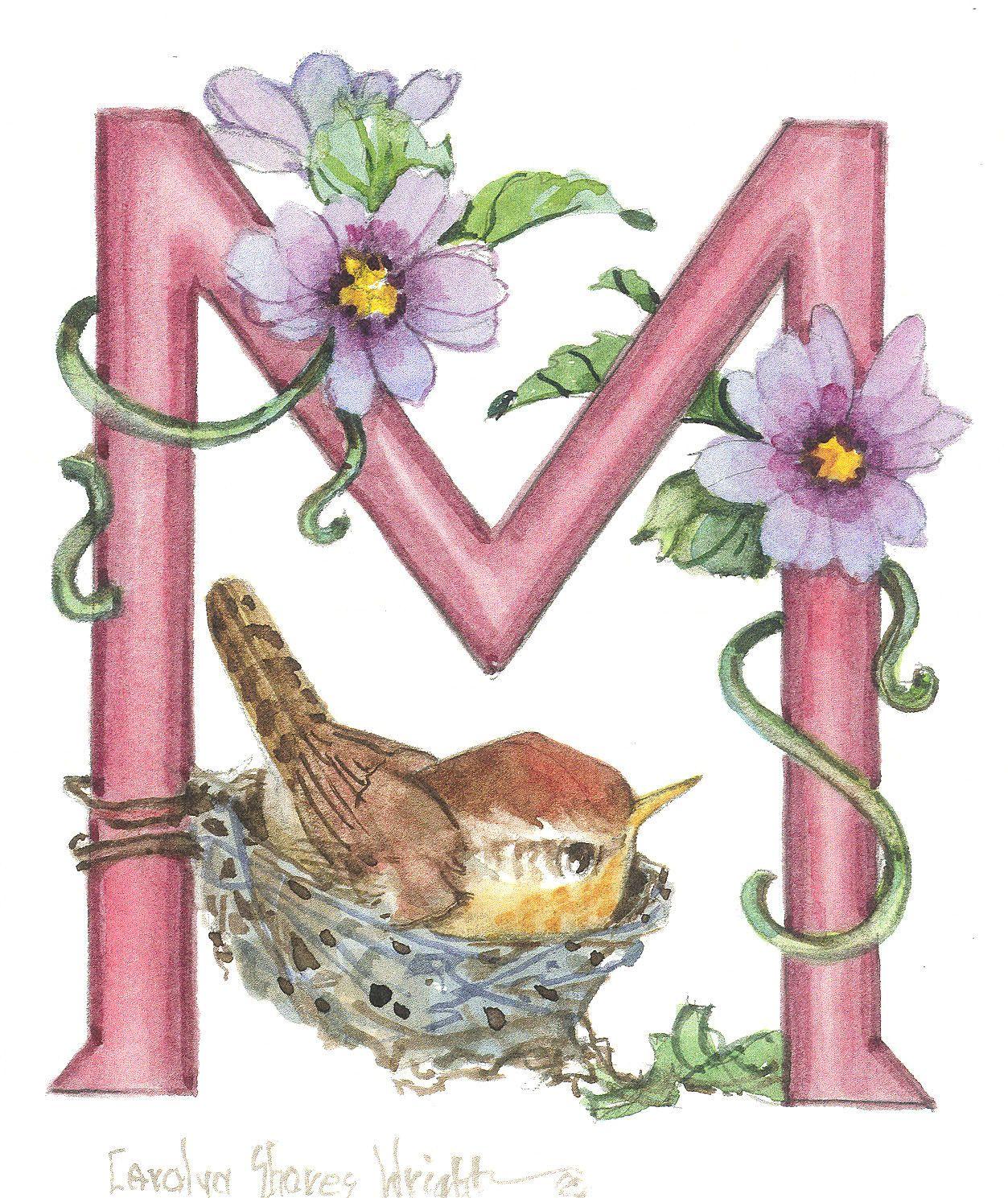 "Bird Alphabet Letter ""M"" 7.5 x 8.5 lithograph Lettering"