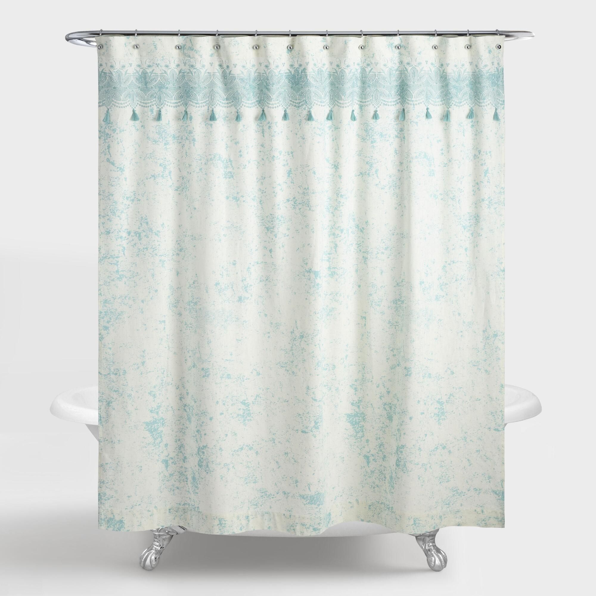 Aqua and ivory embroidered eyelet celia shower curtain by world