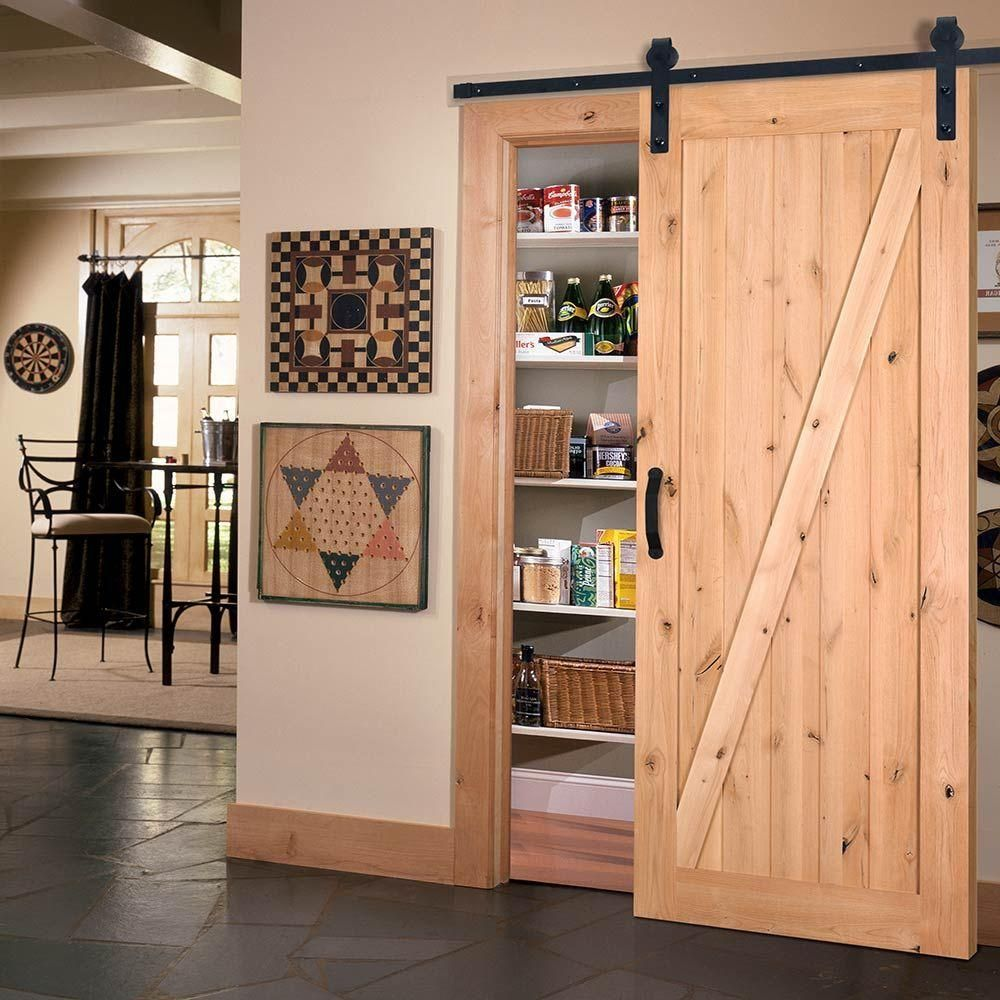 Masonite 42 In X 84 In Z Bar Knotty Alder Interior Barn Door Slab With Sliding Door Hardware