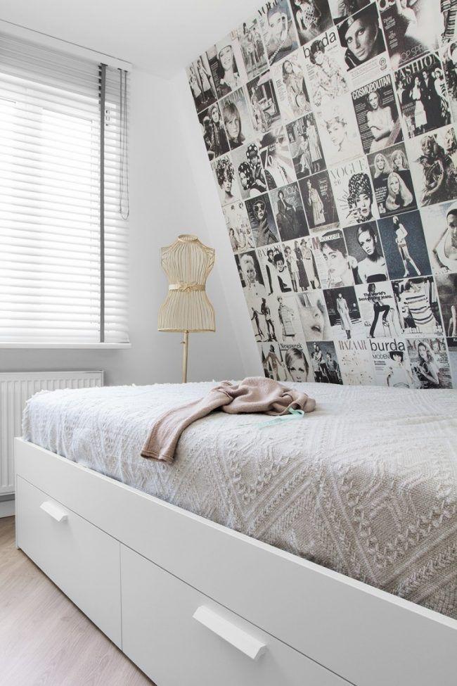 Schlafzimmergestaltung mit Dachschräge einzelbett-bettkasten