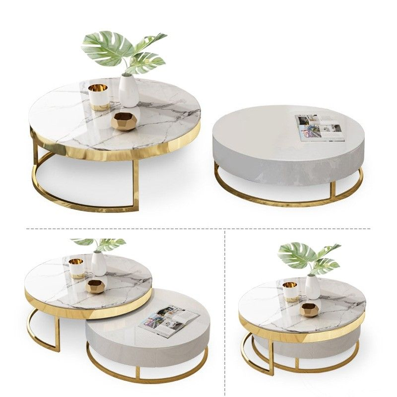 Modern Round Coffee Table With Storage Lift Top Wood Coffee Table With Rotatable Drawers In White Natural White Black Marble White In 2020 Round Coffee Table Modern Marble Coffee Table Living Room Marble Top Coffee