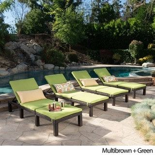 Jamaica Outdoor Wicker Chaise Lounge With Cushion Set Of 4 By