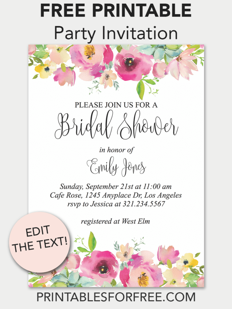 Pink Floral Printable Bridal Shower Invitation Printables For Free Free Printable Party Invitations Bridal Shower Invitations Printable Free Printable Invitations Templates