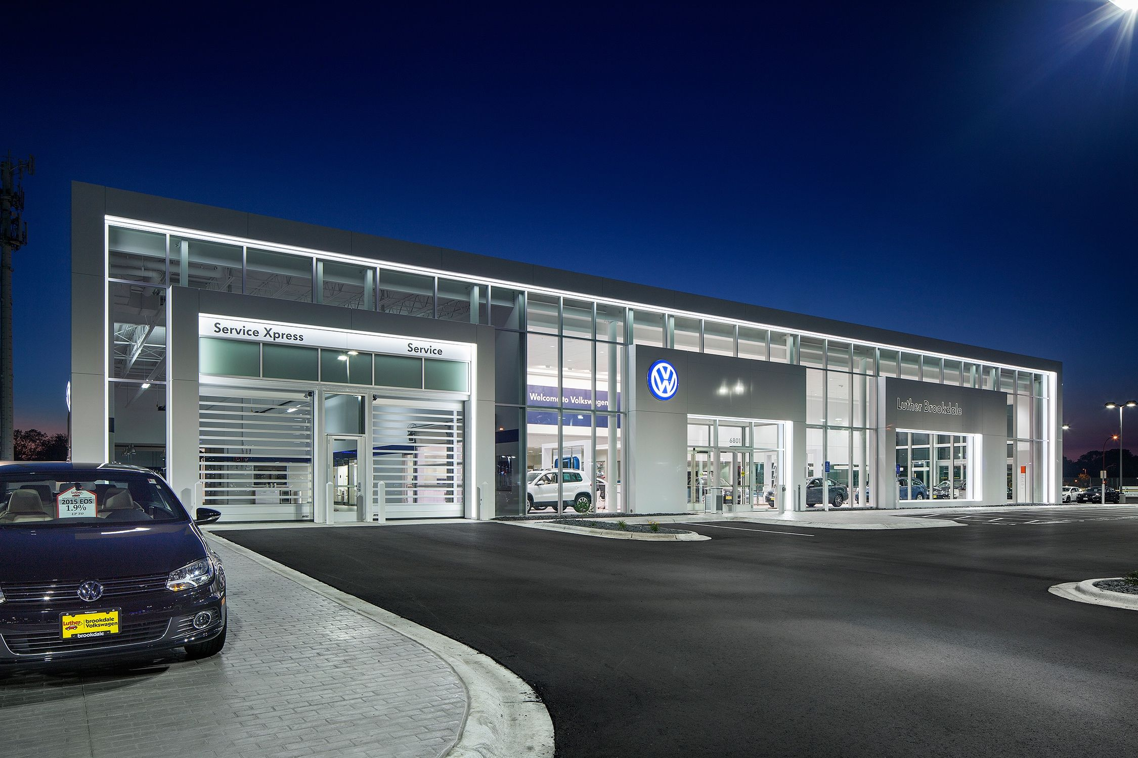 D J Kranz Retail Design Exterior Of Luther Brookdale Volkswagen Car Dealership In Broo Car Showroom Architecture Car Dealership Design Volkswagen Showroom