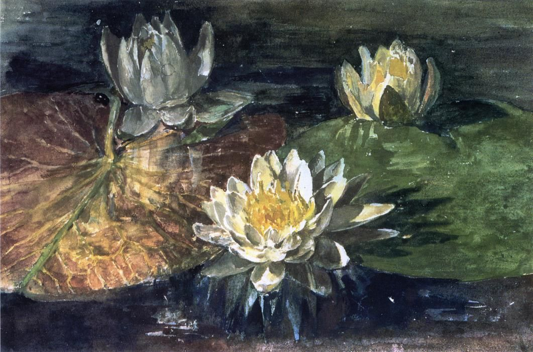 """Water-Lilies, Red and Green Pads,"" John La Farge, 1883, watercolor and gouache on paper, 7.38 x 11.25"", private collection."