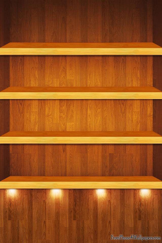 Wood Bookshelf Wallpaper Skins For Iphone Ipod Ipad