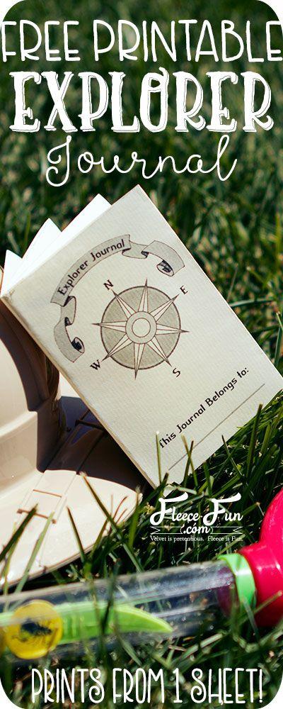 free printable kids explorer journal