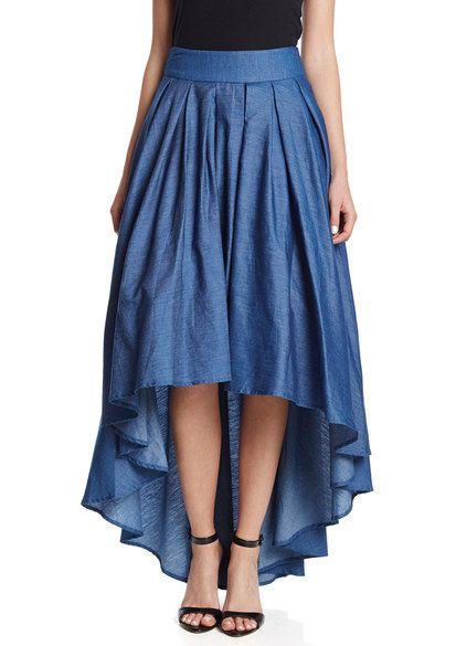 2f6efe1a7a GRACIA High-Low Skirt  59.99 COLOR   DENIM BLUE