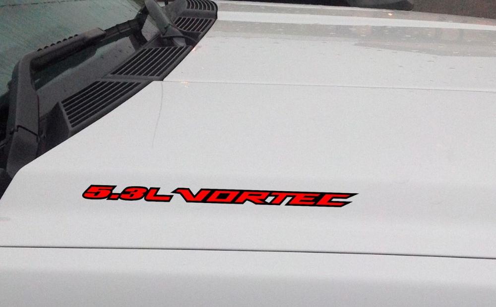 5 3l Vortec Hood Vinyl Decal Sticker Chevrolet Silverado Gmc Sierra Outlined Chevrolet Silverado Vinyl Decal Stickers Gmc Trucks Sierra
