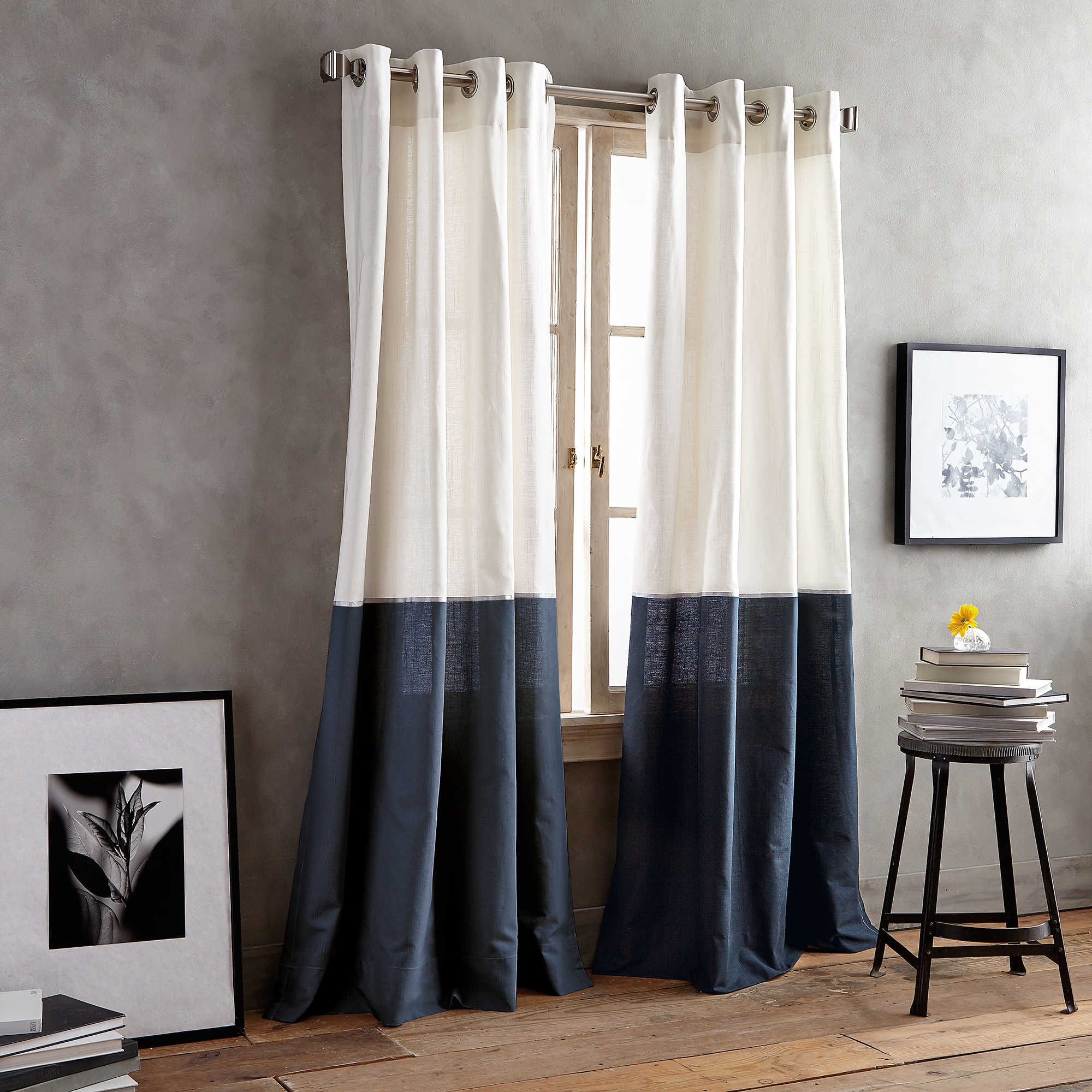 Dkny Color Band Grommet Top Window Curtain Panel Panel Curtains