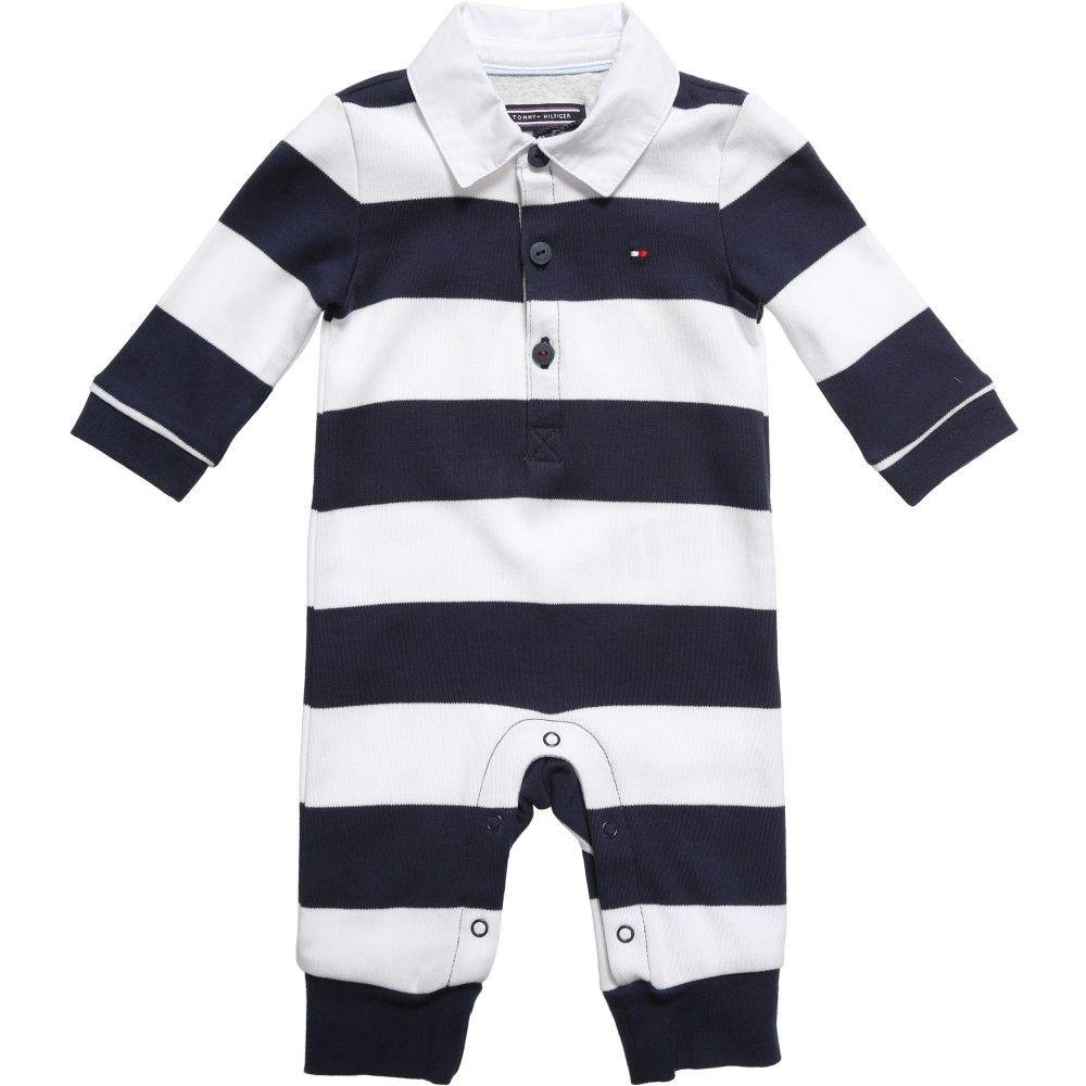 84c536285 Tommy Hilfiger Boys Navy Blue Stripe Jersey Cotton Babygrow Tommy Hilfiger  Baby, Blue And White
