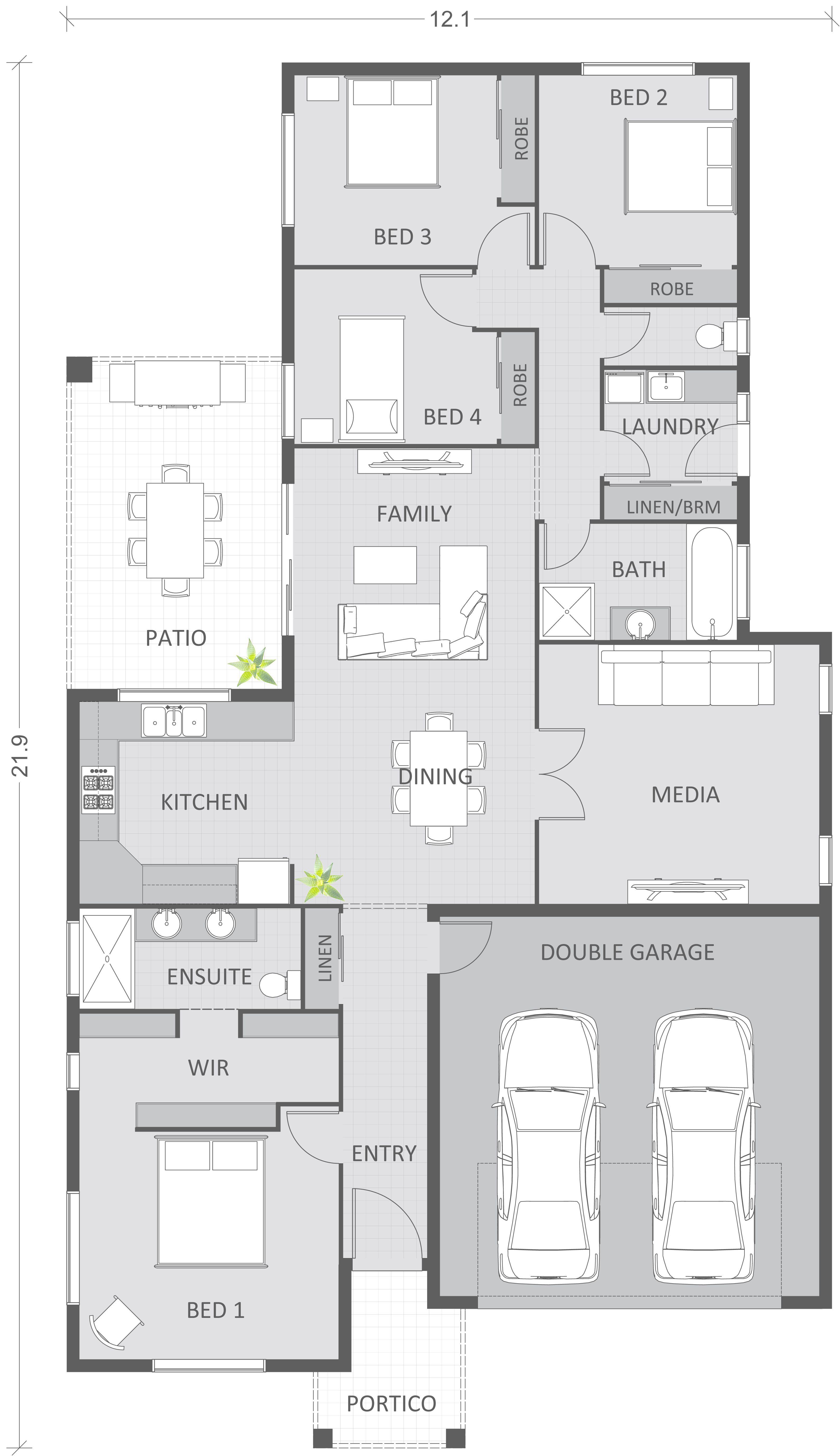 2d Colour Floor Plan Houses Gallery Budde Design Qld Australia In 2020 House Plans Australia House Plans House Floor Plans